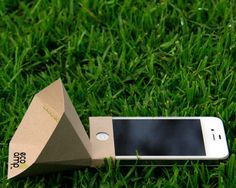 environmentally friendly iPhone speaker amplifier made from FSC Certified 100% Post Consumer and Alternative Fiber paper