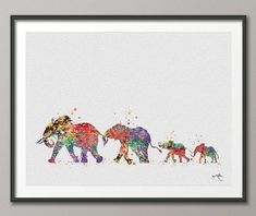 Elephant Family Mom Dad and Baby Art Print Watercolor Painting Wedding Gift idea Wall Art Wall Decor Art Home Decor Wall Hanging No 211 Mama Baby, Mom And Baby, Free Prints, Prints For Sale, Elefante Tattoo, Elephant Tattoos, Elephant Family Tattoo, Baby Elephant, 3 Arts