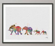 Éléphant famille maman papa et bébé 2 Art impression par CocoMilla