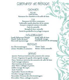 Une autre version de calendrier, traduit en français et qui inclus le ménage mensuel et annuel!