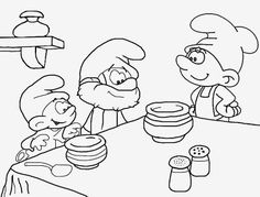 Baker Greedy Baby Papa Smurf simple coloring book print pictures to color for teenage art activities