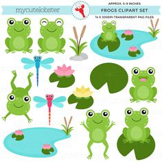 This clip art set includes 14 high quality transparent PNG files at 300 DPI, as pictured. The images are illustrations of frogs, lilypads