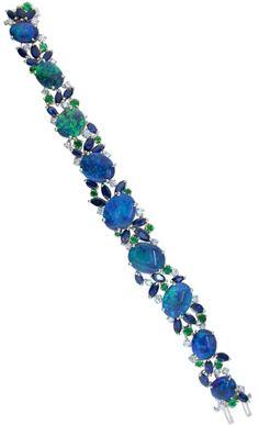 Oscar Heyman 18kt Yellow Gold and Platinum Opal & Diamond Bracelet Round Emeralds 2.60cts. Marquise Sapphires 11.87cts. Round Diamonds 2.08cts. Opals 35.58cts.