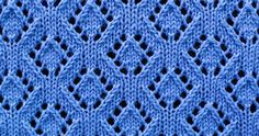 Lace stitch of the Month - August 2016. The Eyelet Diamonds is worked over a multiple of 12 stitches plus 1 and 16 row repeat.
