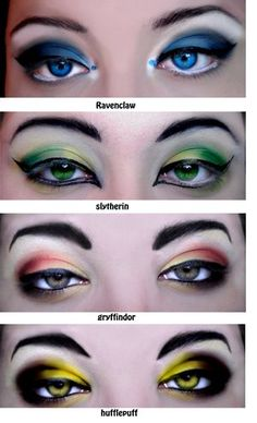 Different colour eyeshadows classifying the different Hogwarts houses. This makeup would look bizarre were it on the faces of the intended audience for the Harry Potter series, that being children. The application of makeup and contacts show yet another way how Rowling's series has evolved with aging fans.