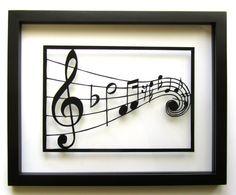 MUSIC Notes Silhouette Paper Cutout in Black por BoldFolds en Etsy