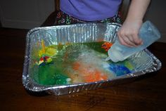Baking Soda, Vinegar, and Paint Project  Blogger said:  For this, I let the kids squeeze a bunch of paint to the bottom of the pan, then sprinkle some baking soda.  Lastly, I gave them bottles with vinegar and they were fascinated by the bubbly explosions inside the tin foil pan.  Plus, squeezing the bottles are great for developing the muscles they will later need for writing.