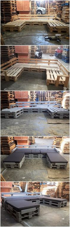 U Shaped Wood Pallet Couch Set