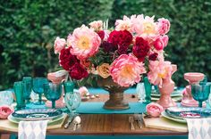 Peony centerpiece + teal table details