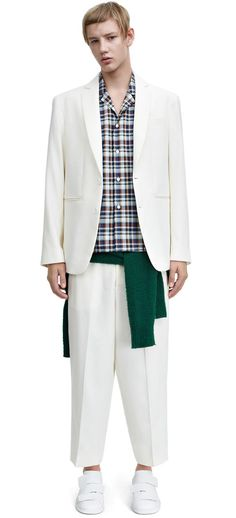 Zooty tlinen off whte relaxed fit, structured suiting trouser #AcneStudios #SS15 #menswear