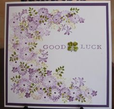 Card-io stamps Good Luck by Michele G - Cards and Paper Crafts at Splitcoaststampers Birthday Cards For Women, Handmade Birthday Cards, Card Making Inspiration, Making Ideas, Cardio Cards, Good Luck Cards, Making Greeting Cards, Beautiful Handmade Cards, Get Well Cards
