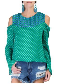 SCARF ME - Blusa nava ombros - verde - OQVestir
