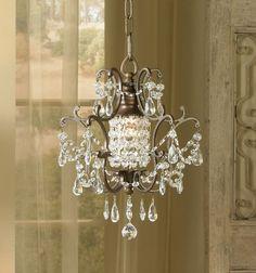 """Maison De Ville Collection 1-Light 11"""" British Bronze Mini Crystal Chandelier"""