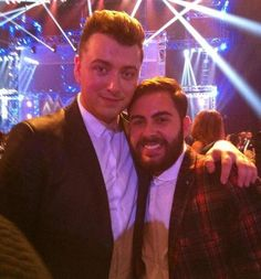 X Factor's Andrea Faustini meets Sam Smith at the MOBOs - 22 October 2014.