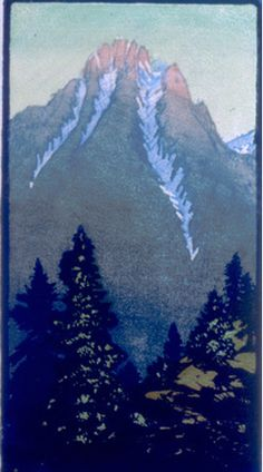 Twilight Nears, 1930 by Frances Hammell Gearhart (b. 1869-1958), Californian artist (occasionally taught by Charles H. Woodbury) known for her colour woodcuts of the Sierras, the Pacific Coast, and the area around Big Bear Lake. She described sentinel trees, groves of eucalyptus, pines, oaks and Monterey cypress as well as valleys and canyons. http://www.francesgearhart.com/ Tags: Mountain, Sunset, Trees, Helen Elstone, Dusk