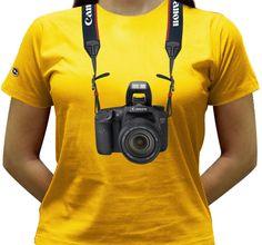Camiseta estampada com a Canon EOS 7D.