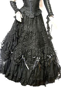 Gothic Wave Victorian Tüll - Rock Braut - Rock Elvira schwarz 36 38 40 42 Neu