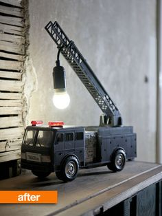 Before: regular old plastic fire truck. After: kick-ass lamp. (This is for you, Charles.)