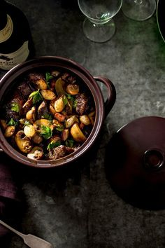 NYT Cooking: Like coq au vin, its sister dish from the Burgundy region of France, beef Bourguignon is a stew of meat slowly simmered in hearty red wine along with pearl onions, mushrooms and crisp, cubed bacon. Use a good wine here, something simple but drinkable. It makes all the difference in the finished dish. As with all beef stews, this one is best made a day or two ahead
