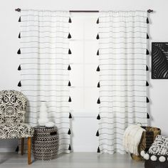 Contrast Stripe Light Filtering Curtain Panels With Tassel Black/White - Opalhouse™ : Target Black and white nursery Yellow Curtains, Boho Curtains, Black Curtains Bedroom, Black White Curtains, Curtains With Tassels, Cheap Curtains, Horizontal Striped Curtains, Home Office Preto, Cortina Boho