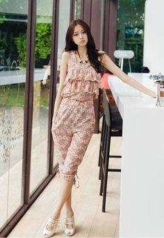 My summer jump suit. Cute Fashion, Womens Fashion, Floral Jumpsuit, Print Chiffon, Mac, Cold Shoulder Dress, Dresses, Boat Neck, Jumpsuits