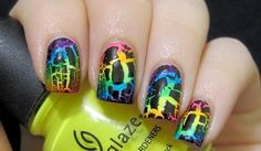 creative nail art designs with crackle nail polish