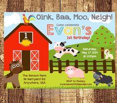 Farm Animal Invite Barnyard Birthday Invitation - PRINTABLE / PRINTED  4x6 5x7 Barnyard Bash Farm Party First Birthday Boy Party Invitation