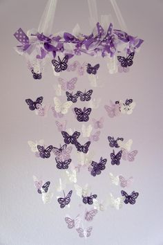 Butterfly Mobile - Purple, Lavender, And White Nursery Mobile picture 2 - bjl