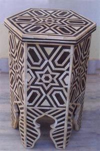 Bone Inlay Stool|MOP Stool|Bone Inlaid Stool|Mother of Pearl Inlaid Stool  From India