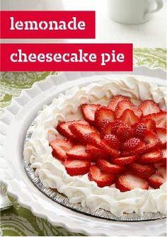Lemonade Cheesecake Pie — Zesty lemonade flavor adds a twist to this creamy dessert recipe. Juicy strawberries add a colorful finish.
