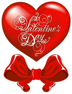 Valentines Day Heart and Red Bow PNG Clipart Picture