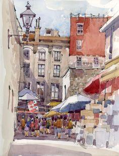 Umbrellas in Alley (Montreal), by Shari Blaukopf