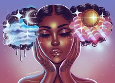 La Vie Art Print by foreverestherr Sexy Black Art, Black Love Art, Black Girl Art, Black Girl Cartoon, Dope Cartoon Art, Black Art Painting, Black Artwork, Drawings Of Black Girls, Arte Alien