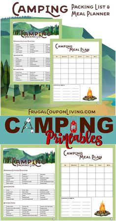 Camping Printables – Packing List and Meal Planner for camping needs. FREE printable on Frugal Coupon Living.