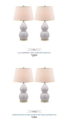 #CopyCatChicFinds #Lulu&Georgia Lydia #Lamps, set of 2 in snow $350 - vs - #Overstock Zoey Double Gourd White Table Lamps set of 2 $160