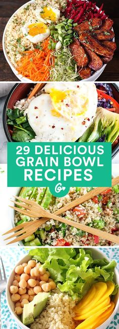 These recipes are packed with protein, veggies, and amazing flavor. #grainbowl #healthy #recipes http://greatist.com/eat/grain-bowl-recipes-healthy-dinner-ideas