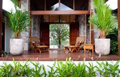 Tropical Pool House by Soul Space Studio, in Ridgewood, Australia Tropical Patio, Tropical Garden Design, Tropical Landscaping, Tropical Houses, Tropical Gardens, Tropical Plants, Gazebo, Pergola, Front Verandah