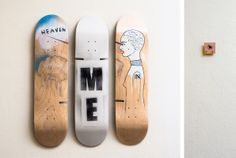 "Tatjana Hardikov. ""Sometimes you eat the bear, and sometimes, well, he eats you."" Skateboard art. Skateboard chair."
