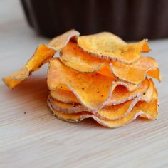 Oven-Roasted Sweet Potato Chip Recipe from David Kirsch--making these today with my left over sweet potatoes!!