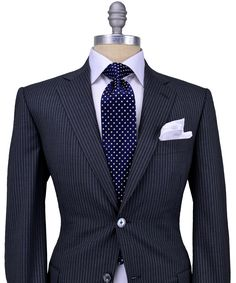 Belvest Dark Grey with Ivory Stripe Suit 	2 button jacket 	Purple melton 	Light purple cupro lining 	Partially lined 	Notch lapel 	Flap pockets 	Double vents 	Flat front pant 	Drop: 8 	95% wool, 5% silk 	Made in Italy