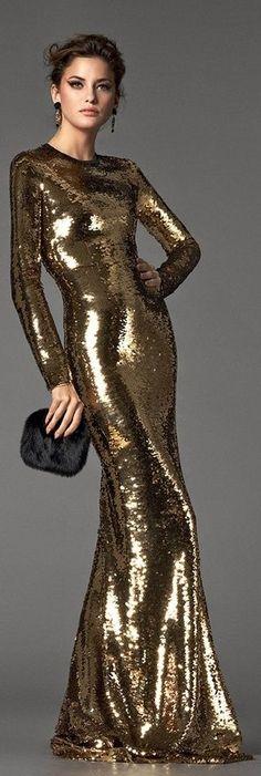 Dolce  Gabbana Gold Sequin Gown 2013
