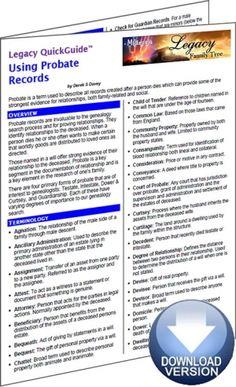 Legacy Family Tree Webinars - Using Probate Records QuickGuide #gentipjar #genealogy #wills