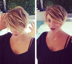 Kaley Cuoco Debuts Brand New Pixie Haircut! Absolutely in love with this ombre pixie cut! Just beautiful