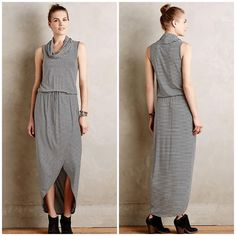 """Anthro Dolan Left Coast Cowl Knit Midi Dress Anthro Dolan Left Coast Cowl Knit Midi Dress - Sz M --- NWT --- black and white stripes --- tie waist --- 94% rayon 6% spandex --- 16.5"""" bust --- 56"""" length --- style is worn gathered at waist, length can be defined depending on where the waist is cinched --- thank you for visiting my boutique and please feel free to ask me any questions  Anthropologie Dresses Midi"""