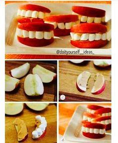 Halloween snack aus äpfeln, Erdnussbutter und marschmallows, von instagram: @doityourself__ideas_