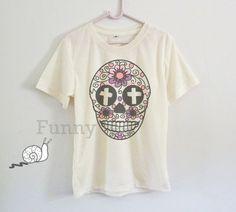 Cross Flower skull tshirt toddlers boys girls by TuesdayTee