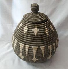 "Interior Design 2021 Decor/ gray basket/ lid basket/ Rwandese baskets / decorative storage baskets /living room decor/ 12"" l 37"" width"