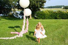 36 Inch Round Balloon with Fancy Frill Tassel Tail by CarouselLane, $46.00 #balloon #36 #inch #round #pink #fancy #frill #tail #tassel #tissue #girl #shower #birthday #white #party #wedding #baby