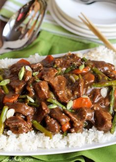 Crock Pot Mongolian Beef - SO simple and delicious. It will be a new favorite! Recipe on { lilluna.com }