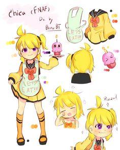 Chica my design by BenzBT on DeviantArt Fnaf 4, Anime Fnaf, Fnaf Drawings, Cartoon Sketches, Five Nights At Freddy's, Kodomo No Omocha, Fnaf Wallpapers, Good Horror Games, Pole Bear